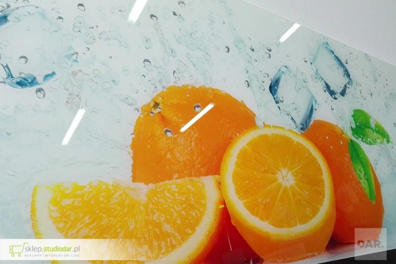 Druk UV na szkle do kuchni - pomarańcze